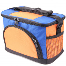 JINIU Insulated Cooler Bag 6-Can Foldable Lunch Box for Work Beach Picnic Camping with Lids and Shoulder Strap for Men Women Adults Orange